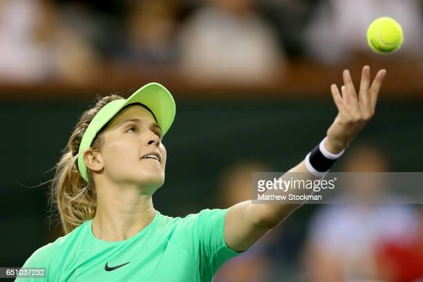 Eugenie Bouchard of Canada serves to Annika Beck of Germany during the BNP Paribas Open at the Indian Wells Tennis Garden on March 9 2017 in Indian...
