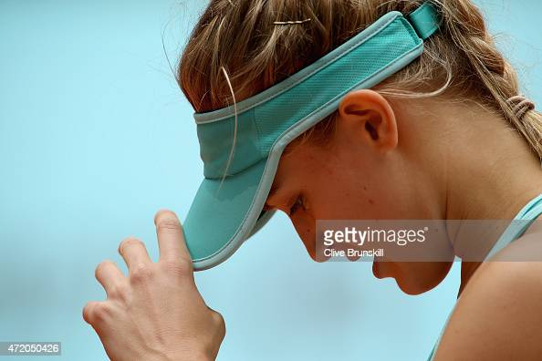Eugenie Bouchard of Canada shows her dejection during her three set defeat against Barbora Strycova of the Czech Republic in their first round match...