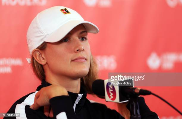 Eugenie Bouchard of Canada speaks to the media during Day 3 of the Rogers Cup at Aviva Centre on August 7 2017 in Toronto Canada