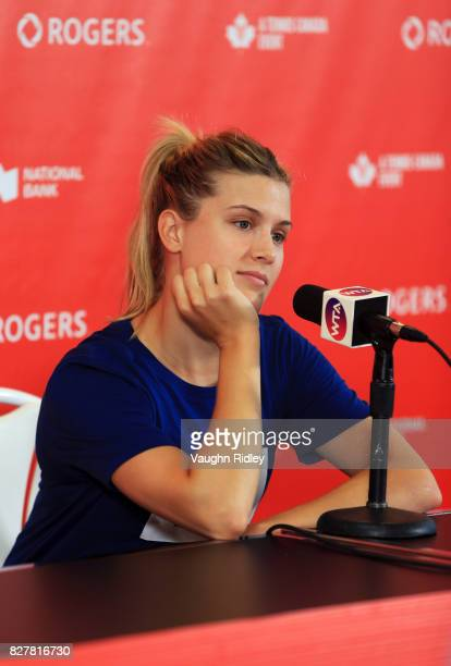 Eugenie Bouchard of Canada speaks to the media during Day 4 of the Rogers Cup at Aviva Centre on August 8 2017 in Toronto Canada