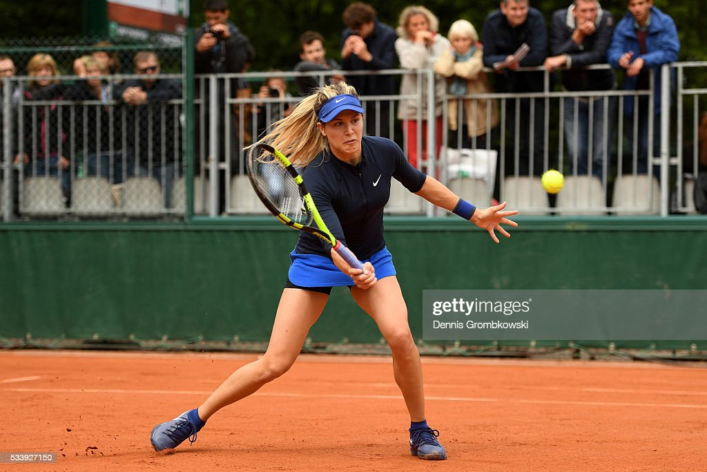 <a gi-track='captionPersonalityLinkClicked' href=/galleries/search?phrase=Eugenie+Bouchard&family=editorial&specificpeople=5678779 ng-click='$event.stopPropagation()'>Eugenie Bouchard</a> of Canada volleys during the Ladies Singles first round match against Laura Siegemund of Germany on day three of the 2016 French Open at Roland Garros on May 24, 2016 in Paris, France.