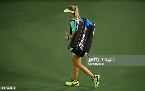Eugenie Bouchard of Canada walks off court after her three set defeat by Annika Beck of Germany in their first round match during day four of the BNP...