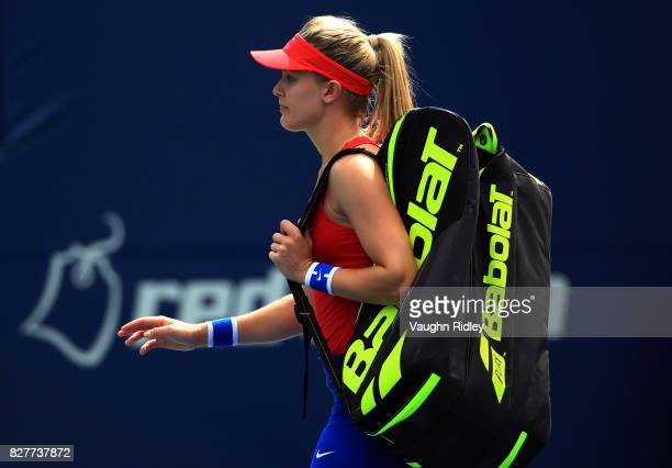 Eugenie Bouchard of Canada walks off the court after losing to Donna Vekic of Croatia during Day 4 of the Rogers Cup at Aviva Centre on August 8 2017...