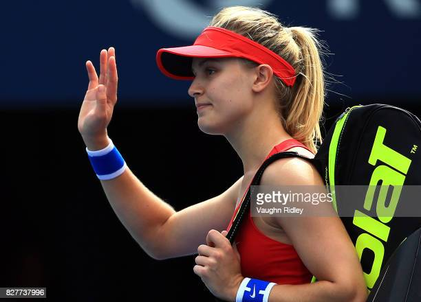 Eugenie Bouchard of Canada waves to the crowd after losing to Donna Vekic of Croatia during Day 4 of the Rogers Cup at Aviva Centre on August 8 2017...