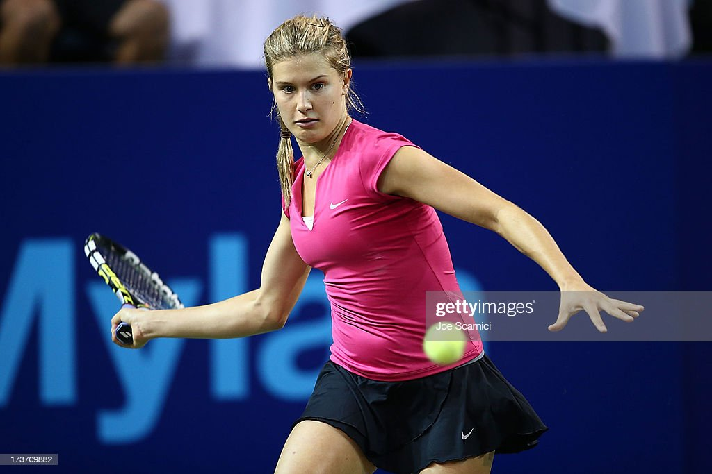 <a gi-track='captionPersonalityLinkClicked' href=/galleries/search?phrase=Eugenie+Bouchard&family=editorial&specificpeople=5678779 ng-click='$event.stopPropagation()'>Eugenie Bouchard</a> of the Texas Wild plays a forehand as the Texas Wild compete against the Orange County Breakers on July 16, 2013 in Newport Beach, California.