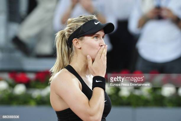 Eugenie Bouchard reacts during her match against Maria Sharapova during day three of the Mutua Madrid Open tennis tournament at La Caja Magica on May...