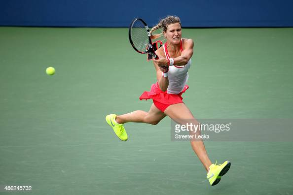 Eugenie Bouchard returns a shot to Polona Hercog of Slovenia during their Women's Singles Second Round match on Day Three of the 2015 US Open at the...
