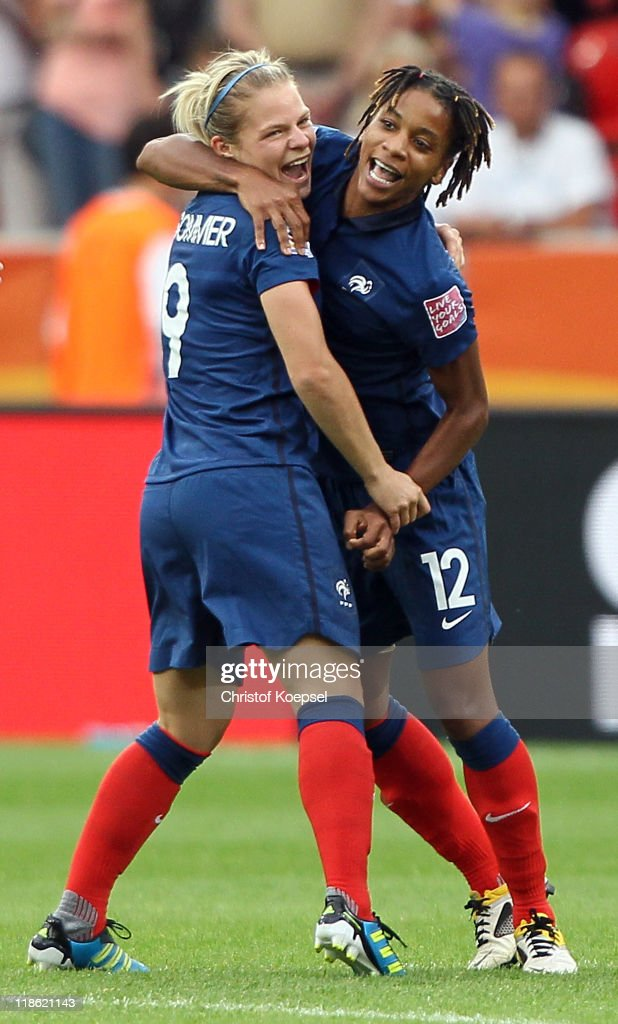 Eugenie Le Sommer of France and Elodie Thomis of France celebrate winning 5-4 after the penalty shoot-out the FIFA Women's World Cup 2011 Quarter Final match between England and France at the FIFA Women's World Cup Stadium Leverkusen on July 9, 2011 in Leverkusen, Germany.