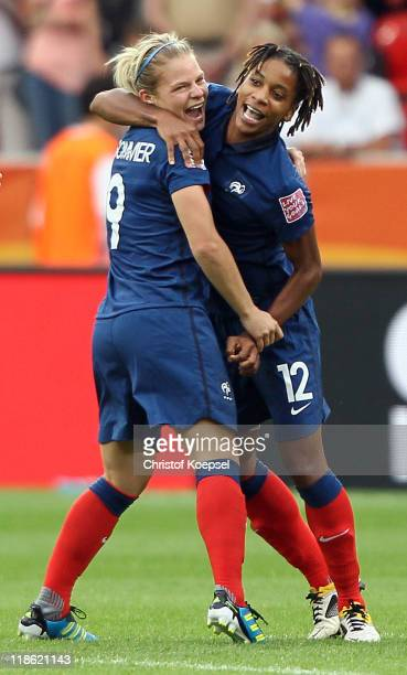 Eugenie Le Sommer of France and Elodie Thomis of France celebrate winning 54 after the penalty shootout the FIFA Women's World Cup 2011 Quarter Final...