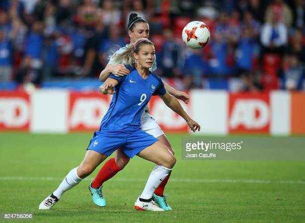 Eugenie Le Sommer of France and Jade Moore of England during the UEFA Women's Euro 2017 quarter final match between England and France at Stadion De...