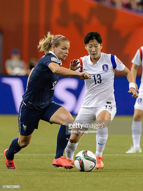 Eugenie Le Sommer of France and Kwon Hahnul of Korea Republic battle for the ball during the 2015 FIFA Women's World Cup Round of 16 match at Olympic...