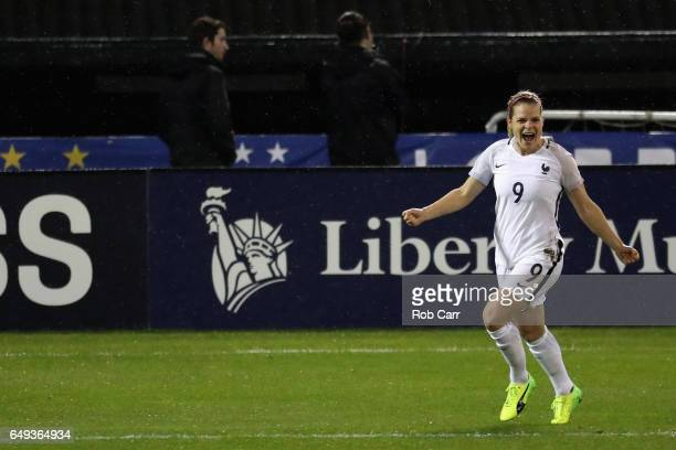 Eugenie Le Sommer of France celebrates after scoring the second goal in the first half of their match against the United States during the 2017...