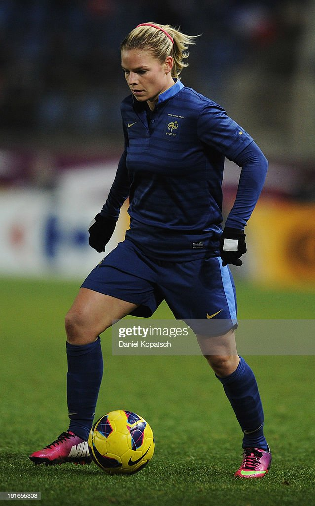 Eugenie le Sommer of France controles the ball during the international friendly match between France and Germany at Stade de la Meinau on February 13, 2013 in Strasbourg, France.