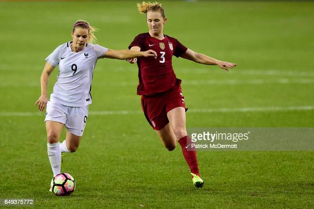 Eugenie Le Sommer of France controls the ball against Samantha Mewis of United States of America in the second half during the 2017 SheBelieves Cup...