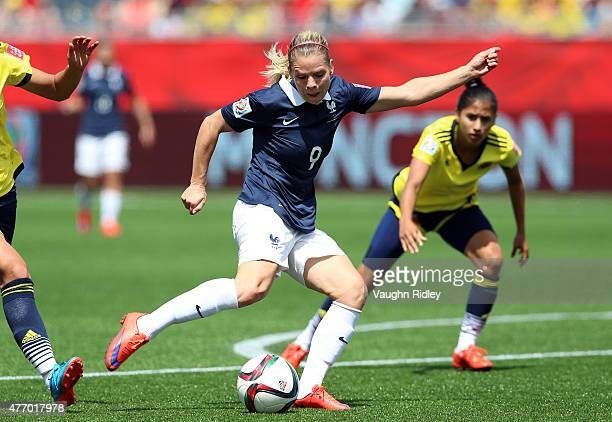 Eugenie Le Sommer of France has a shot on goal during the FIFA Women's World Cup Group F match between France and Colombia at Moncton Stadium on June...