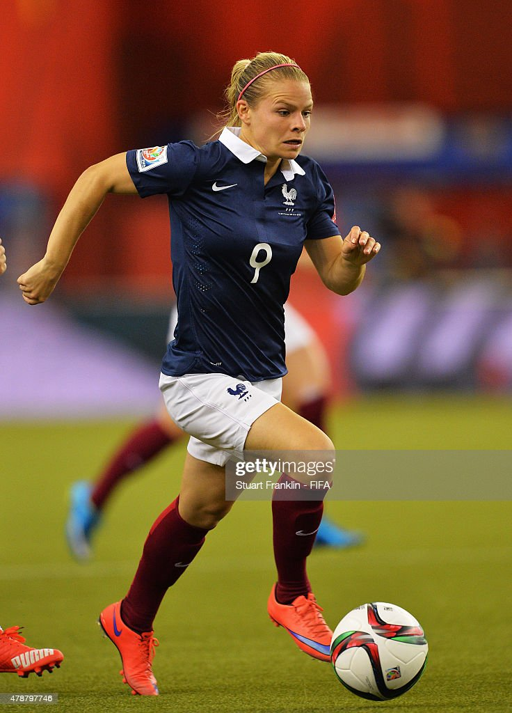 <a gi-track='captionPersonalityLinkClicked' href=/galleries/search?phrase=Eugenie+Le+Sommer&family=editorial&specificpeople=1026277 ng-click='$event.stopPropagation()'>Eugenie Le Sommer</a> of France in action during the quarter final match of the FIFA Women's World Cup between Germany and France at Olympic Stadium on June 26, 2015 in Montreal, Canada.
