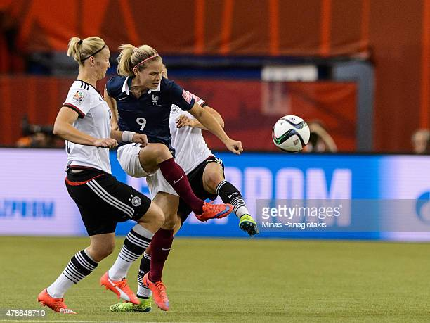 Eugenie Le Sommer of France plays the ball during the 2015 FIFA Women's World Cup quarter final match against Germany at Olympic Stadium on June 26...