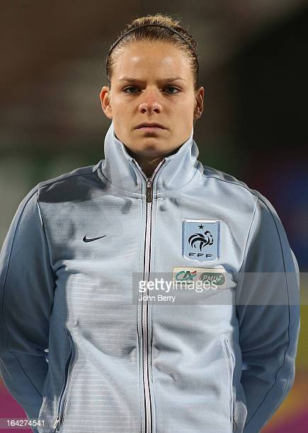 Eugenie Le Sommer of France poses prior to the women international friendly match between France and Brazil at the Robert Diochon stadium on March 9...