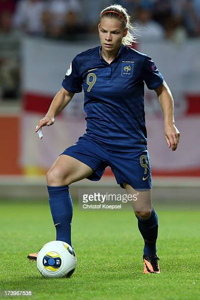 Eugenie Le Sommer of France runs with the ball during the UEFA Women's EURO 2013 Group C match between France and England at Linkoping Arena on July...