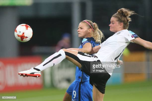 Eugenie Le Sommer of France women Verena Aschauer of Austria women during the UEFA WEURO 2017 Group C group stage match between France and Austria at...