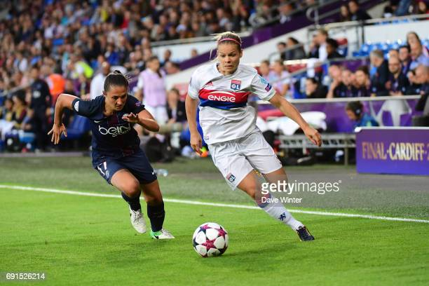 Eugenie Le Sommer of Lyon and Eve Perisset of PSG during the final of the UEFA Women's Champions League match between Olympique Lyonnais and Paris...