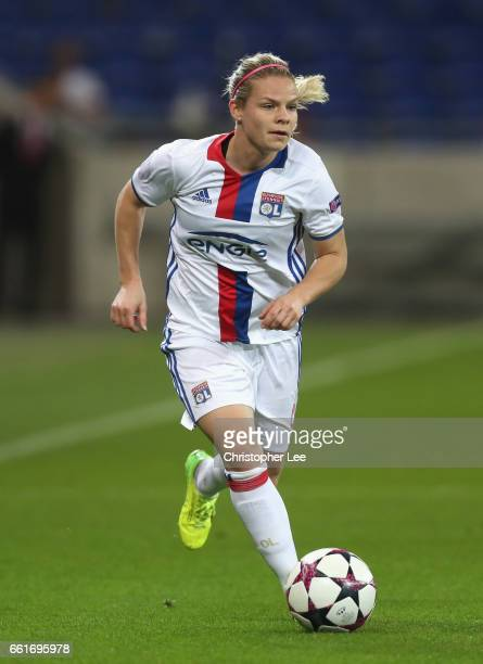 Eugenie Le Sommer of Olympique Lyon in action during the Women's Champions League match between Lyon and Wolfsburg at Stade de Lyon on March 29 2017...