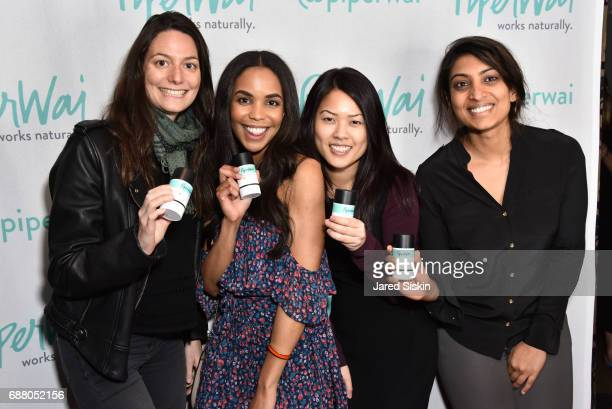 Eugenie Lujeune Katherine Tanv and Miyoshi Patel attend PiperWai NYC Launch Event at Vnyl on May 24 2017 in New York City