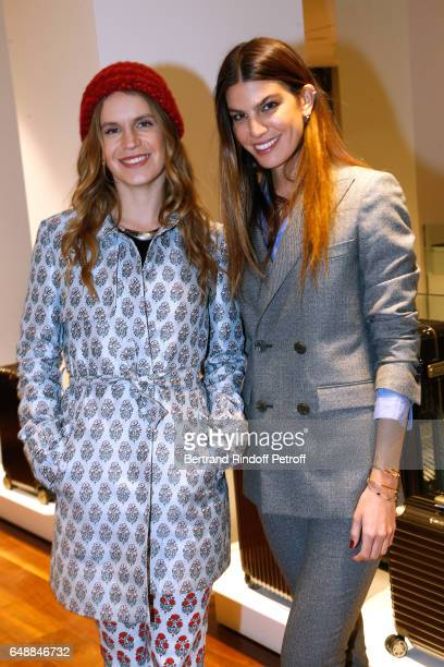 Eugenie Niarchos and Bianca Brandolini d'Adda attend the Opening of the Boutique Rimowa 73 Rue du Faubourg Saint Honore in Paris on March 6 2017 in...