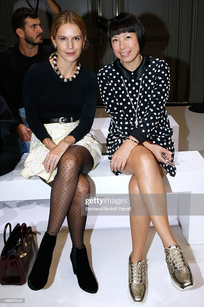 Eugenie Niarchos and Editorinchief of Vogue China Angelica Cheung attend the Giambattista Valli show as part of the Paris Fashion Week Womenswear...