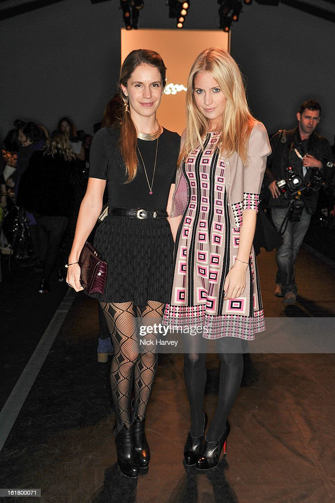 Eugenie Niarchos (L) and Marissa Montgomery attend the Issa London show during London Fashion Week Fall/Winter 2013/14 at Somerset House on February 16, 2013 in London, England.