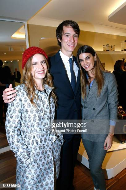 Eugenie Niarchos CEO of Rimowa Alexandre Arnault and Bianca Brandolini d'Adda attend the Opening of the Boutique Rimowa 73 Rue du Faubourg Saint...