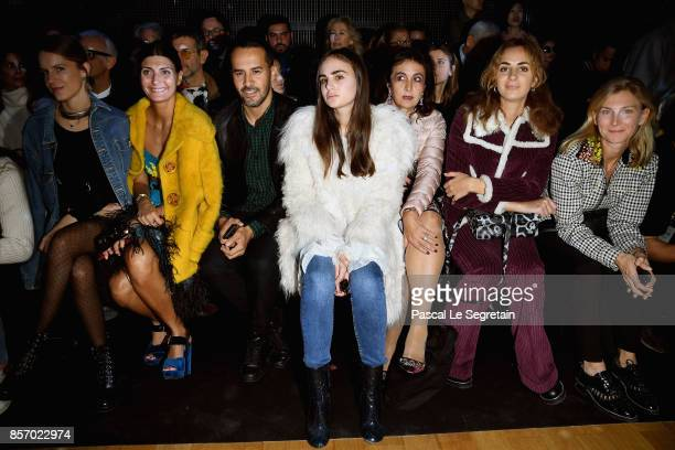 Eugenie Niarchos Giovanna Bataglia guest Leslie Cohen Amon guest Alexia Niedzielski and Elizabeth von Guttman attend the Moncler Gamme Rouge show as...