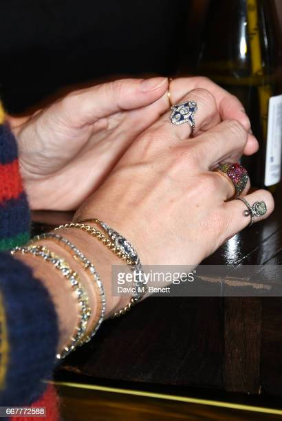 Eugenie Niarchos jewellery detail attends Prabal Gurung and Caroline Issa's dinner at Shochu Lounge at ROKA to celebrate the arrival of Spring 2017...