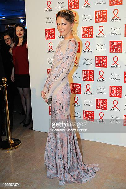 Eugenie Niarchos poses as she arrives to attend the Sidaction Gala Dinner 2013 at Pavillon d'Armenonville on January 24 2013 in Paris France