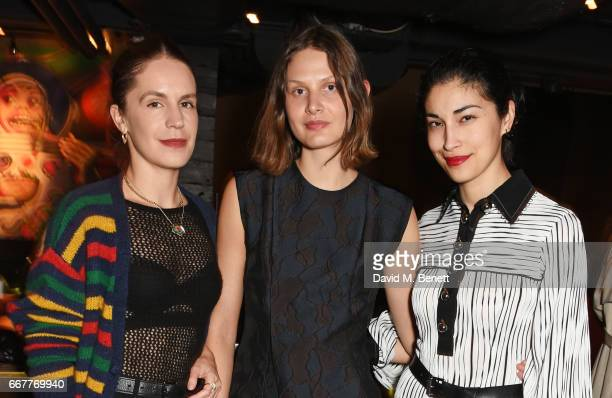 Eugenie Niarchos Victoria Sekrier and Caroline Issa attend Prabal Gurung and Caroline Issa's dinner at Shochu Lounge at ROKA to celebrate the arrival...