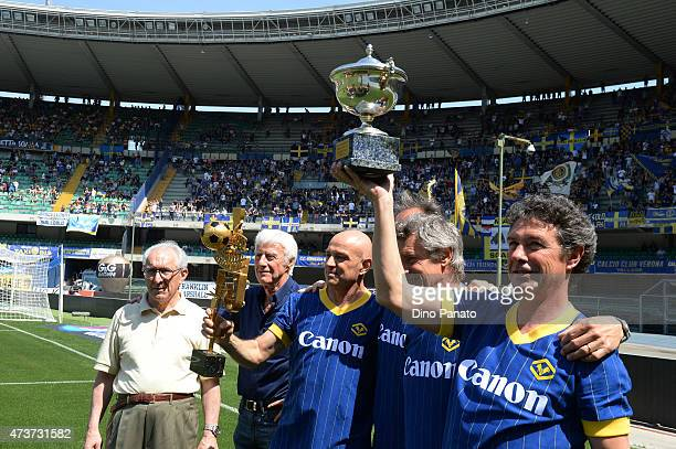 Eugenio Bagnoli head coach Verona 1984 / 1985 and players of Verona celebrates for thirty years of championship celebrations before the Serie A match...