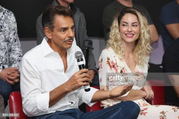 Eugenio Derbez and Barbara Mori attend a press conference and photocall to promote the film 'El Complot Mongol' at Club de Periodistas de Mexico on...