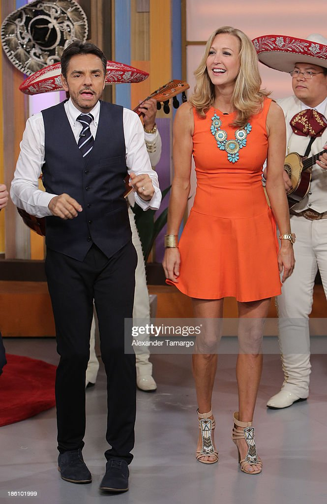 Eugenio Derbez and Lara Spencer are seen on the set of Despierta America for simulcast with 'Good Morning America' and Fusion's the Morning Show' at Univision Headquarters on October 28, 2013 in Miami, Florida.