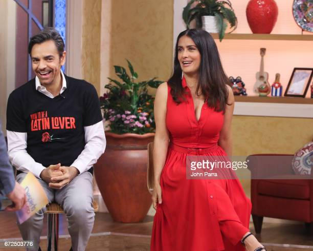 Eugenio Derbez and Salma Hayek are seen at Despierta America studio to promote the film 'How To Be A Latin Lover' on April 24 2017 in Miami Florida