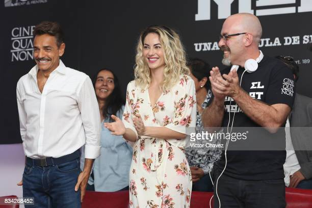 Eugenio Derbez Barbara Mori and film director Sebastian del Amo attend a press conference and photocall to promote the film 'El Complot Mongol' at...