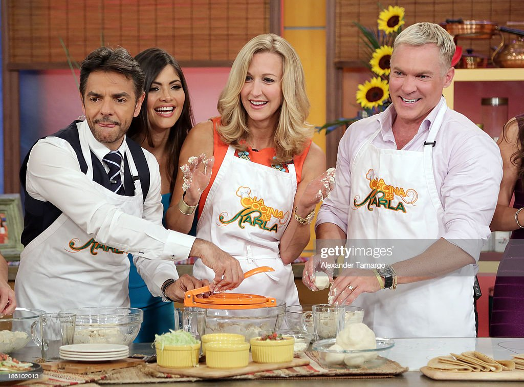 Eugenio Derbez, Chiquinquira Delgado, Lara Spencer and Sam Champion are seen on the set of Despierta America for simulcast with 'Good Morning America' and Fusion's the Morning Show' at Univision Headquarters on October 28, 2013 in Miami, Florida.