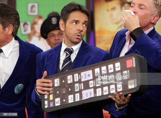 Eugenio Derbez is seen on the set of Despierta America for simulcast with 'Good Morning America' and Fusion's the Morning Show' at Univision...