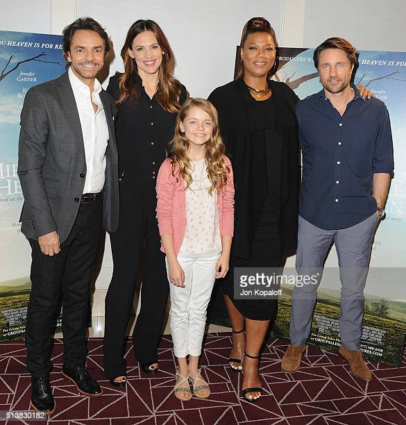 Eugenio Derbez Jennifer Garner Kylie Rogers Queen Latifah and Martin Henderson arrive at Sony Pictures Releasing's 'Miracles From Heaven' Photo Call...