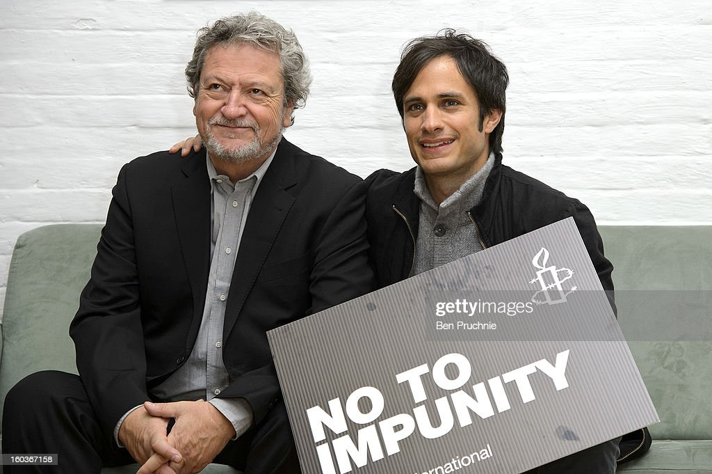 Eugenio Garcia and Gael Garcia Bernal attends a photocall to promote his Oscar nominated film 'No', which tells the story of Chilean dictator Augusto Pinochet at The Human Rights Action Centre on January 30, 2013 in London, England.