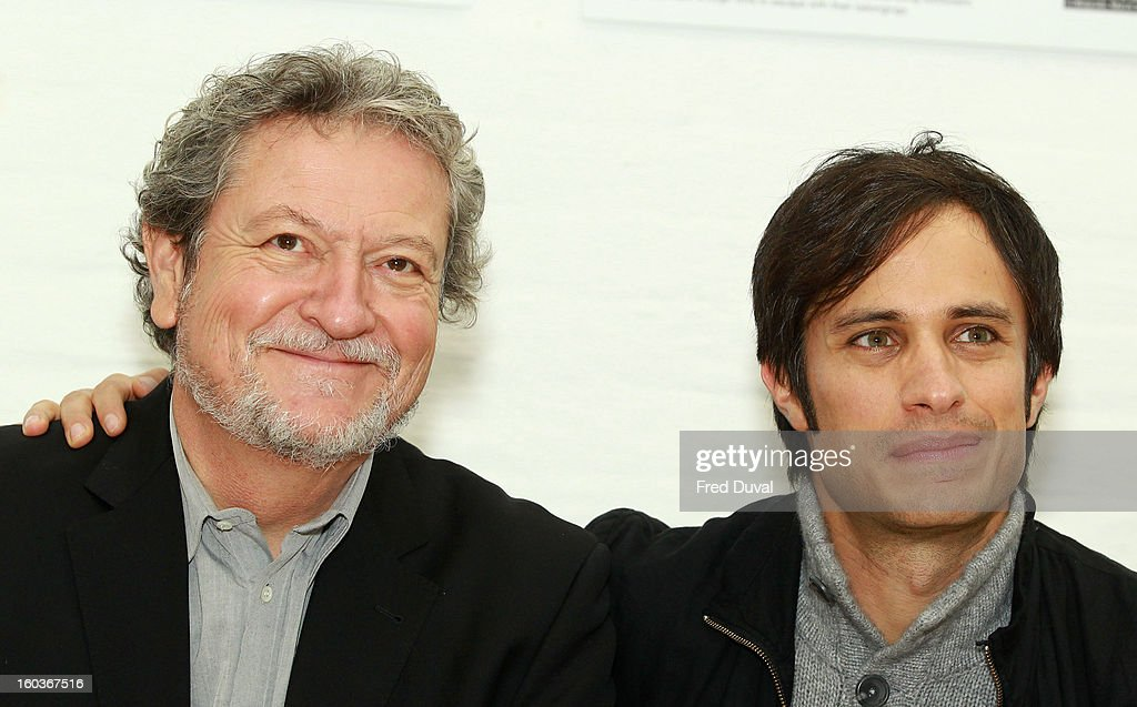 Eugenio Garcia and <a gi-track='captionPersonalityLinkClicked' href=/galleries/search?phrase=Gael+Garcia+Bernal&family=editorial&specificpeople=202025 ng-click='$event.stopPropagation()'>Gael Garcia Bernal</a> attends a photocall to promote his Oscar nominated film 'No', which tells the story of Chilean dictator Augusto Pinochet at The Human Rights Action Centre on January 30, 2013 in London, England.
