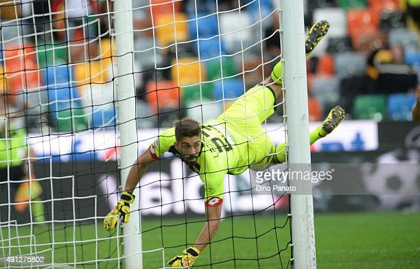 Eugenio Lamanna goalkeeper of Genoa CFC makes a save during the Serie A match between Udinese Calcio and Genoa CFC at Stadio Friuli on October 4 2015...