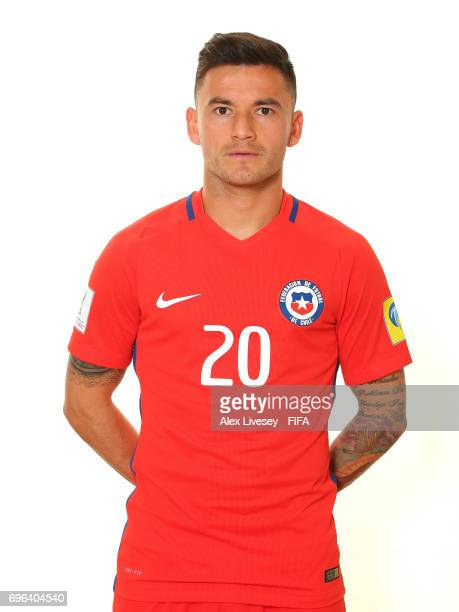 Eugenio Mena of Chile during a portrait session ahead of the FIFA Confederations Cup Russia 2017 at the Crowne Plaza Hotel on June 15 2017 in Moscow...