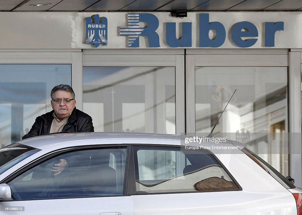 Eugenio Ortega Cano is seen after Jose Ortega Cano's girlfriend Ana Maria Aldon has a newborn baby at Ruber Internatinal Hospital on February 9, 2013 in Madrid, Spain.