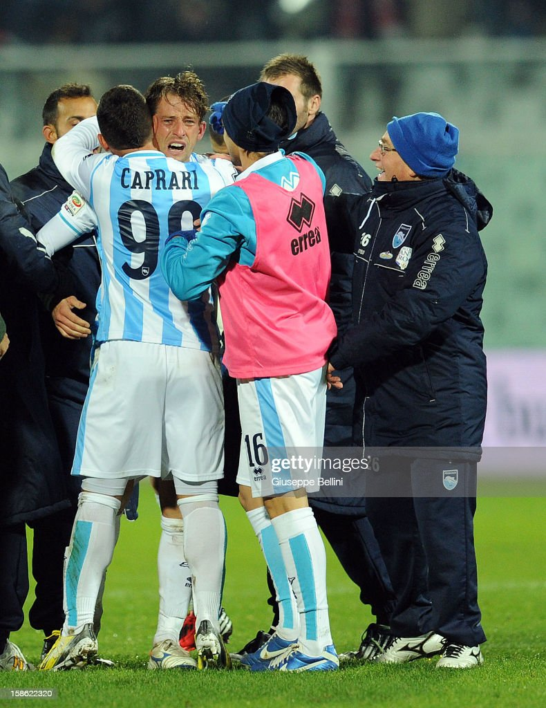 Eugenio Romulo Togni of Pescara cries after the Serie A match between Pescara and Calcio Catania at Adriatico Stadium on December 21, 2012 in Pescara, Italy.