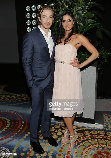 Eugenio Siller and Paola Nunez attend Telemundo Luncheon to launch 'Camelia Le Texana' during NATPE at Eden Roc Hotel on January 27 2014 in Miami...